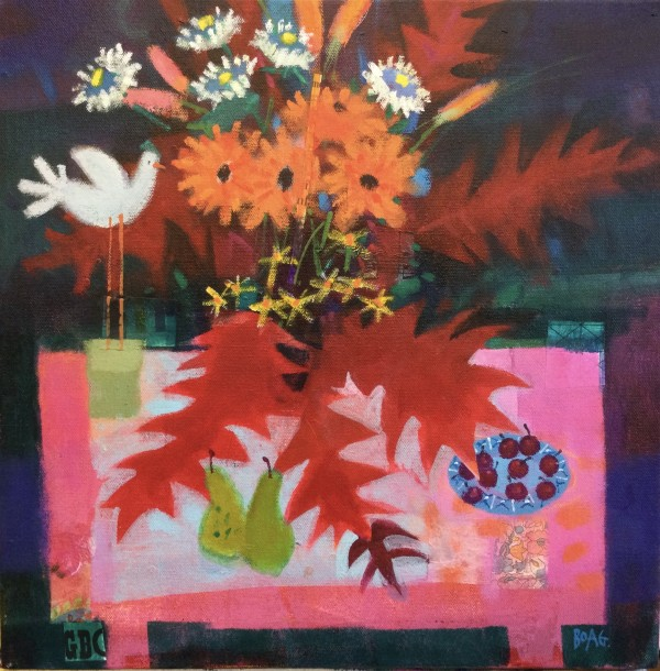 Red leaves, Orange flowers by francis boag