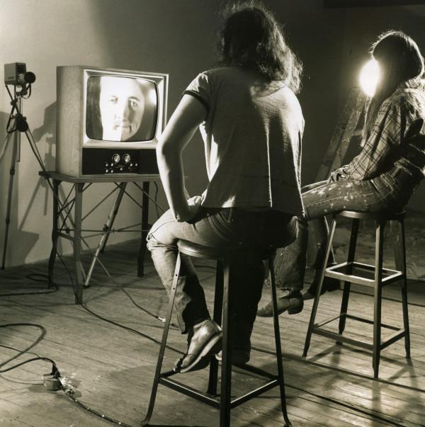 Laurie & Alan Split Faces 1975 by Alan Powell
