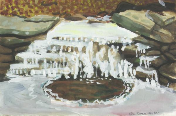 February 4 ,2007  ice study on creek waterfall by Alan Powell