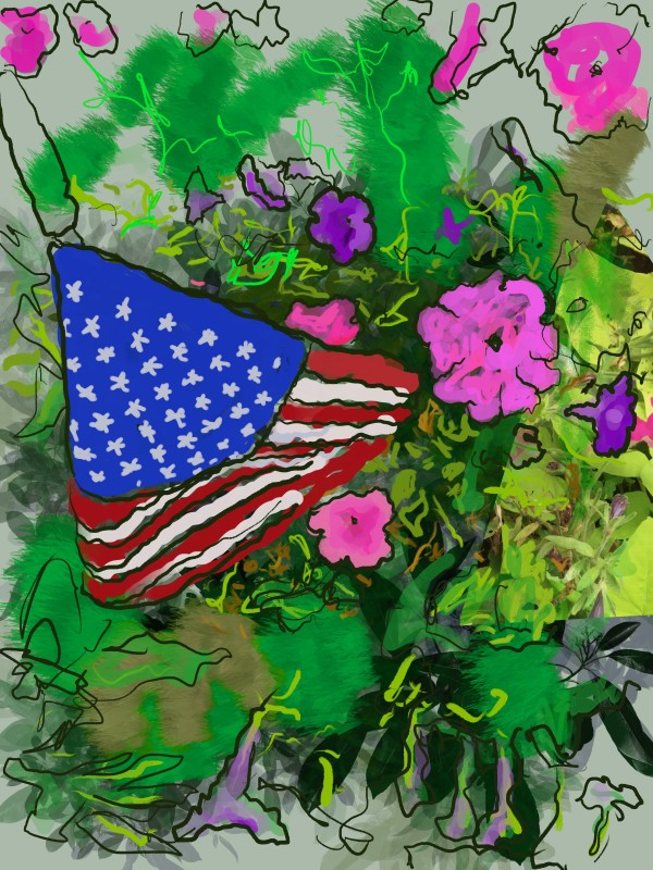 American Flag In The Garden by Alan Powell
