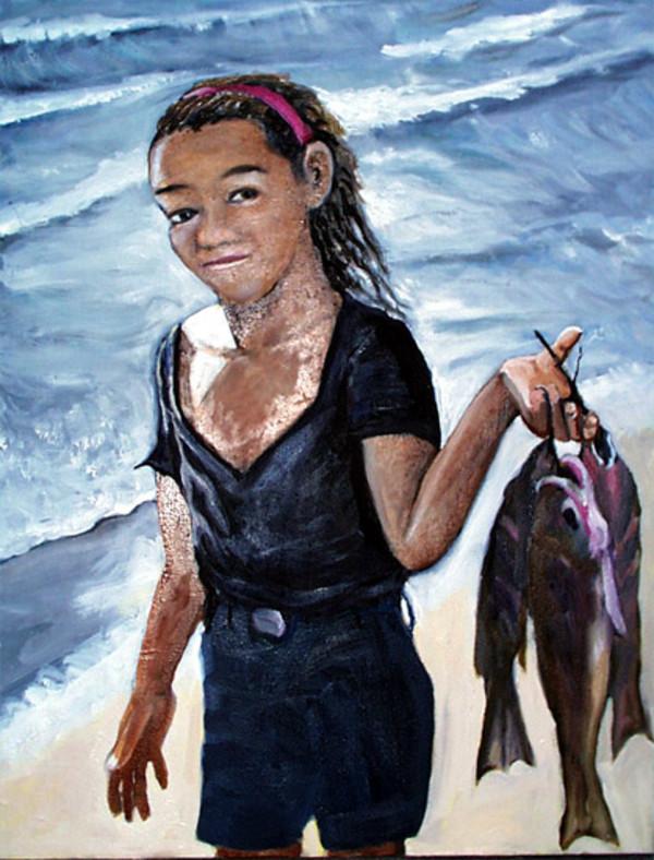 Girl carrying Fish  on Lake Nicaraqua by Alan Powell