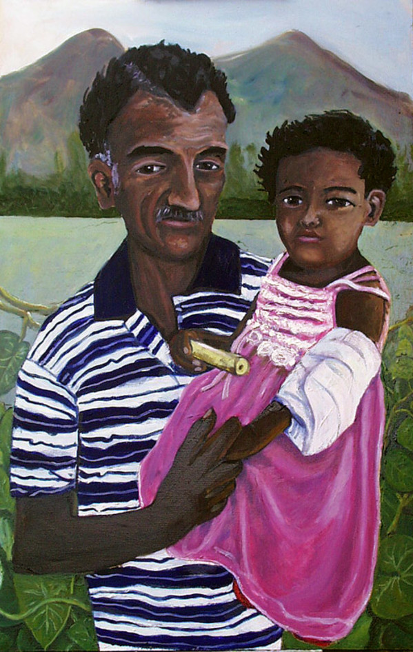 Grandfather with bandage grand-daughter; Revis Nicaragua by Alan Powell