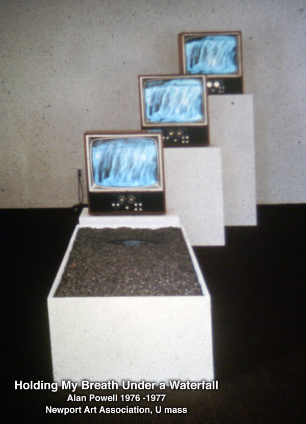 Holding my Breath under a Waterfall, Video Installation by Alan Powell 1977 by Alan Powell