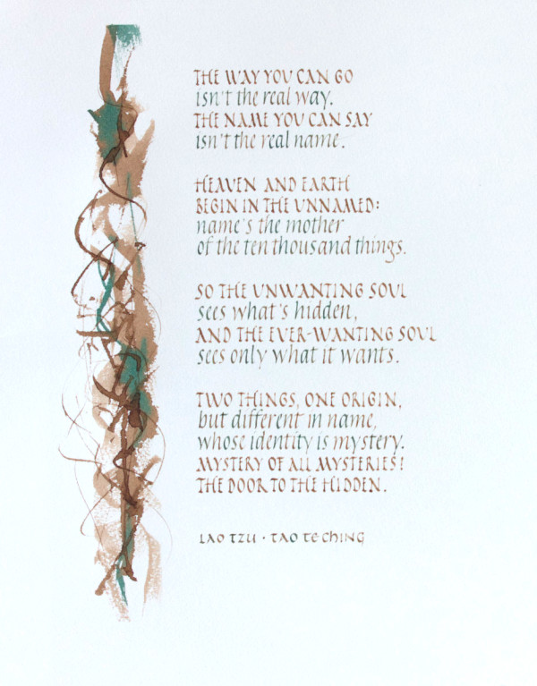 Tao Te Ching - Chapter 1, Version 1 by Brenna O'Toole