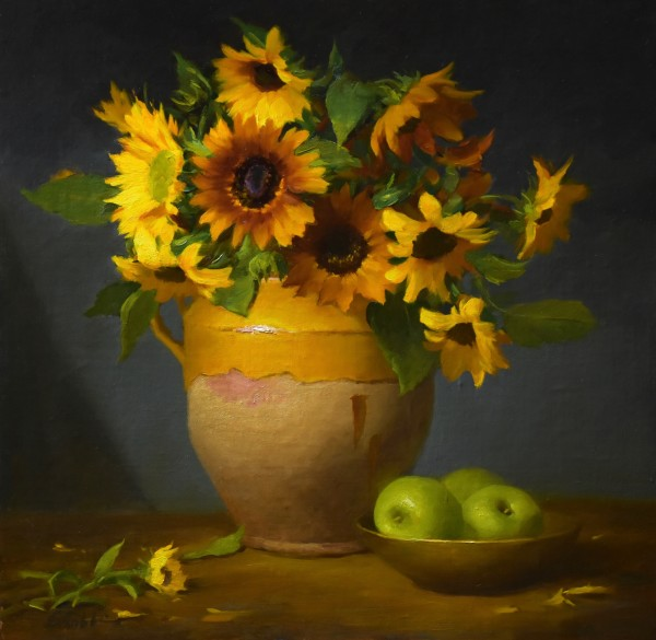 Sunflowers and Green Apples by Elizabeth Robbins