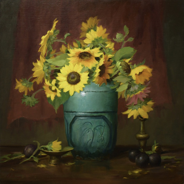 Sunflowers and Willow by Elizabeth Robbins