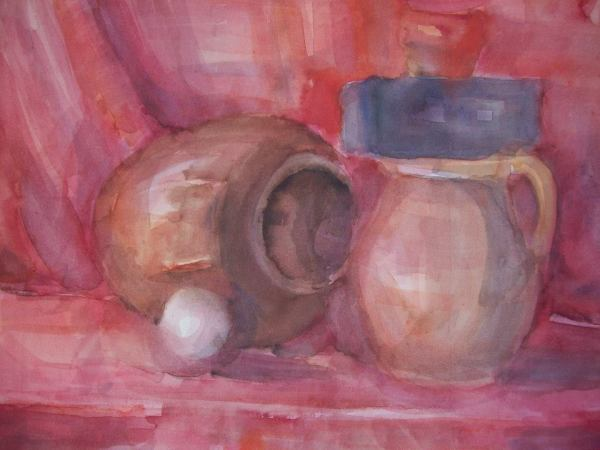 Watercolor Still Life in red with a white ball by Gallina Todorova