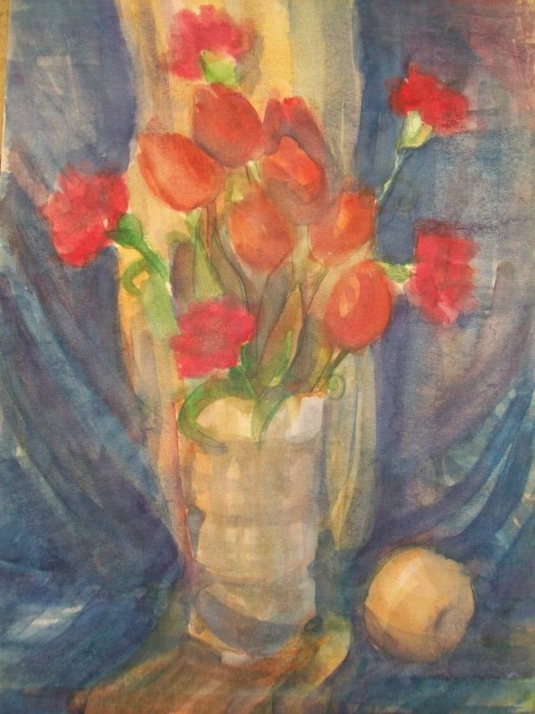 Watercolor Still Life / Tullips and Carnations by Gallina Todorova