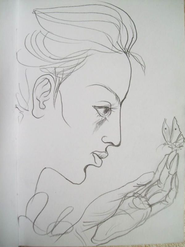 Girl with a butterfly by Gallina Todorova