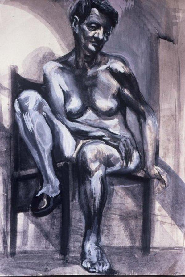 Nude elderly model by Gallina Todorova