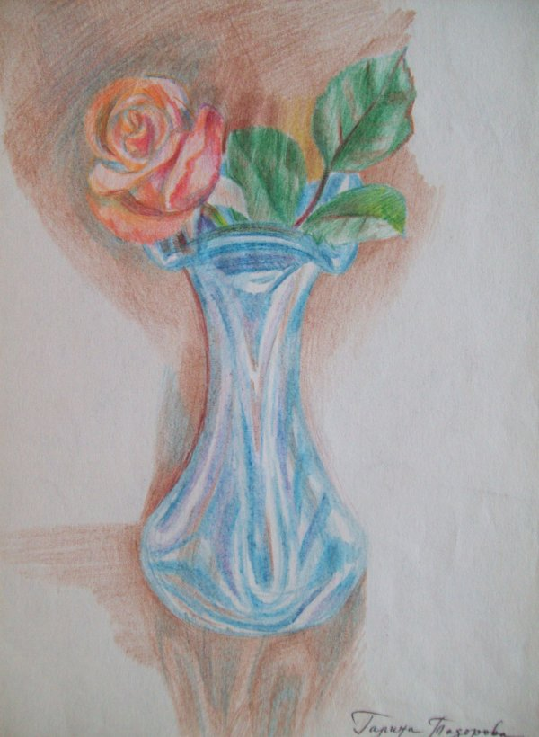 Vase with a rose by Gallina Todorova