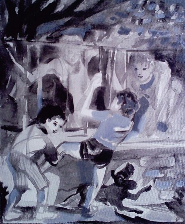 Kids jumping fence - after a drawing by Gallina Todorova