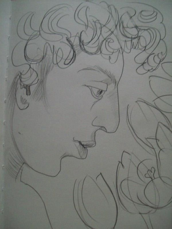 Boy in profile with tulips by Gallina Todorova
