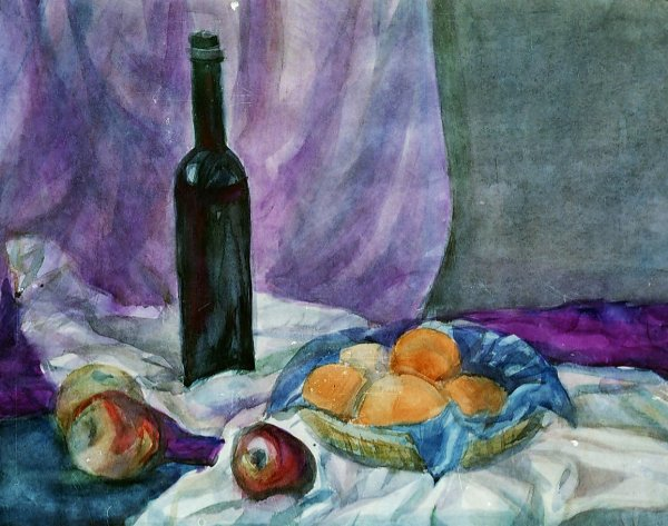 Still Life with black bottle by Gallina Todorova