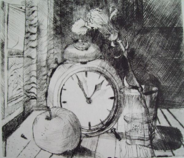 Still Life with a clock, carnation and an apple by Gallina Todorova