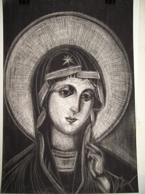 Holy Mother - charcoal by Gallina Todorova