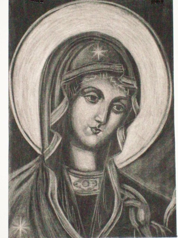 2 Holy Mother - charcoal by Gallina Todorova