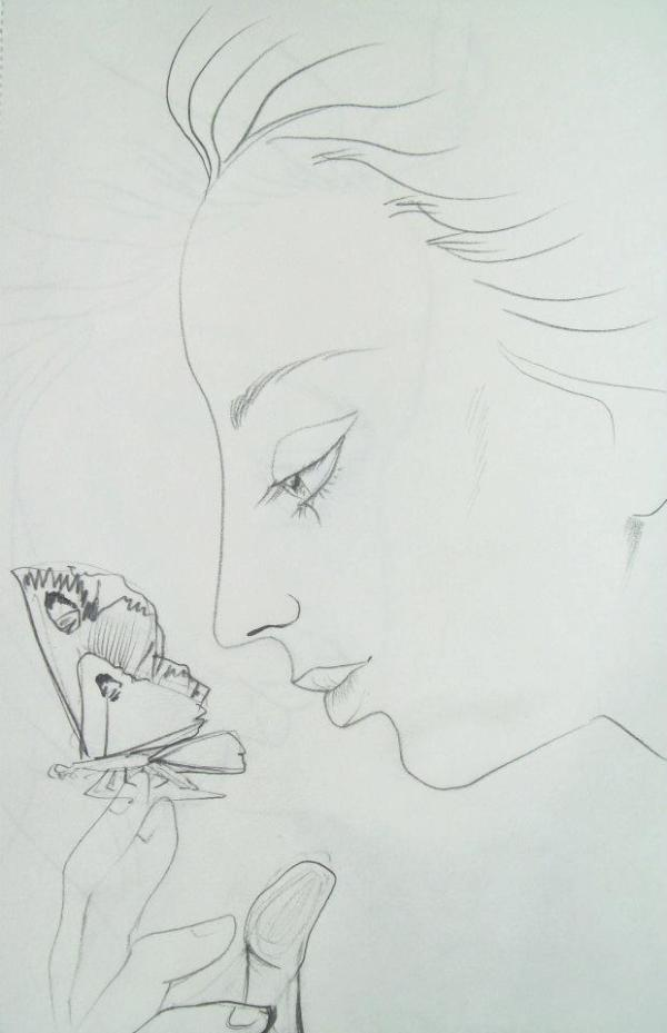 Looking at the butterfly by Gallina Todorova