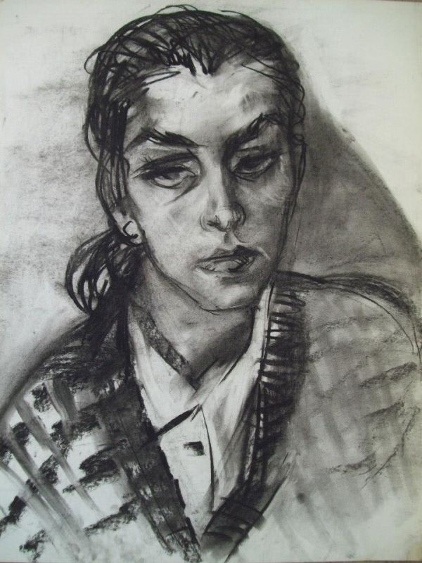Young Lady at Mincho's Studio with charcoal by Gallina Todorova