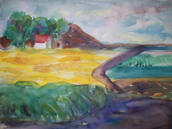Small house in the field by Gallina Todorova