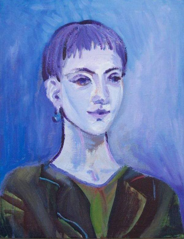 Selfportrait in blue by Gallina Todorova