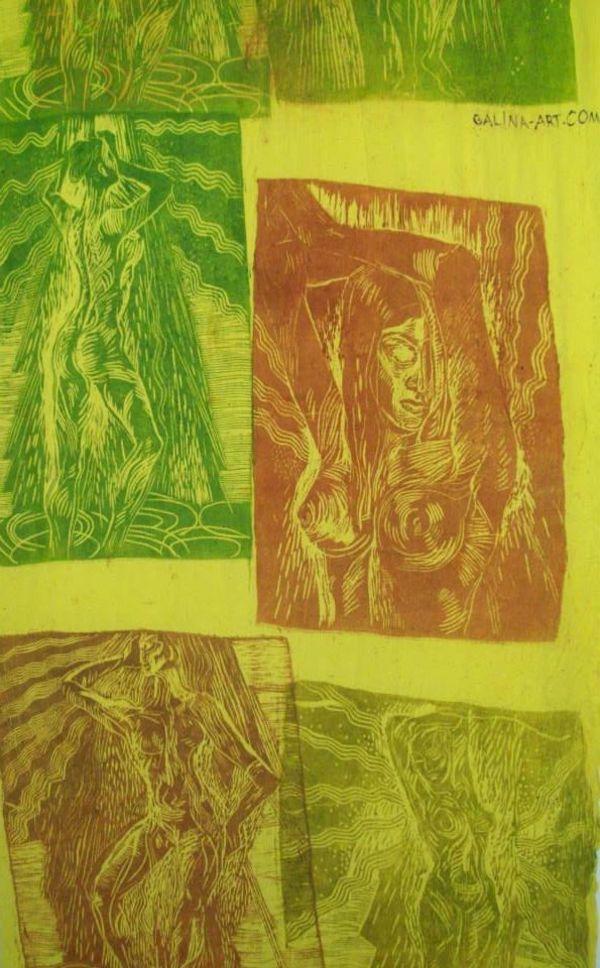 Bodies on yellow fabric by Gallina Todorova
