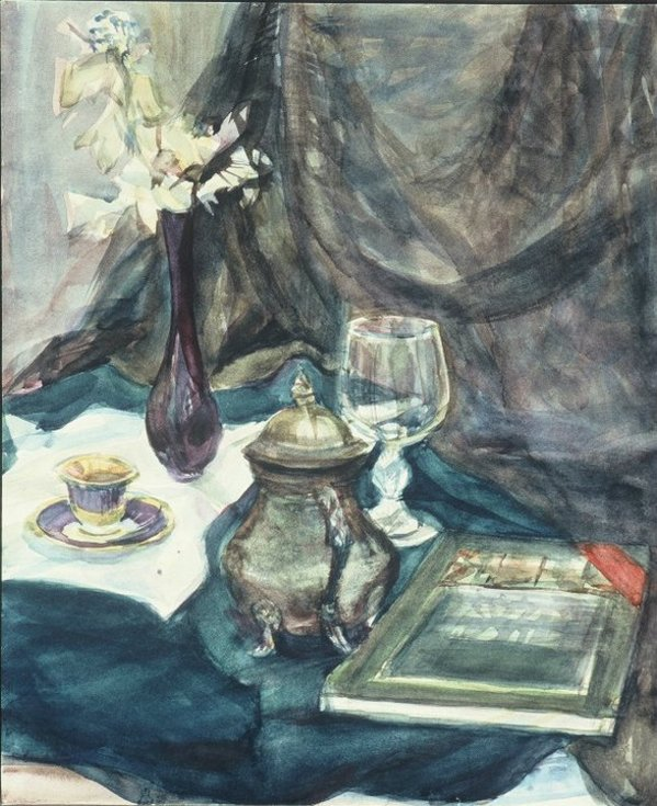 Still life with book and a glass by Gallina Todorova