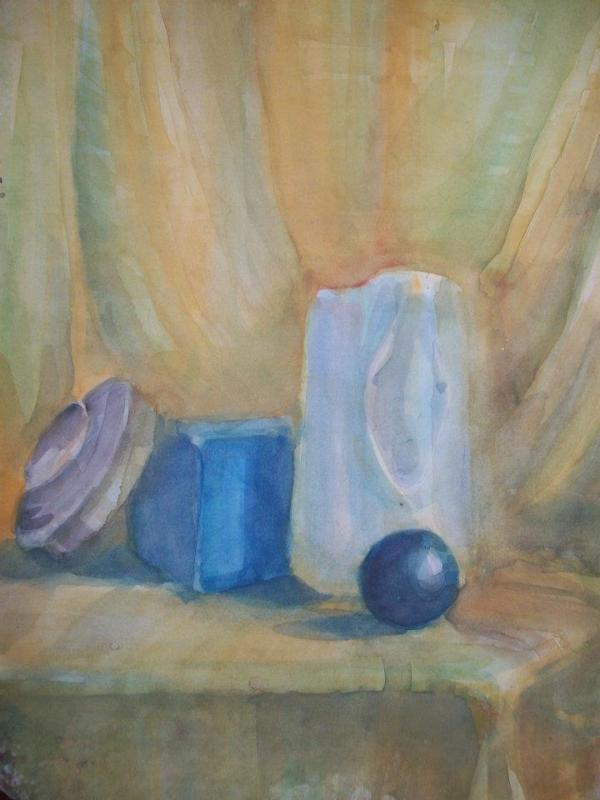 Still Life in yellow with a black ball by Gallina Todorova