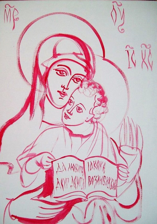 Holy Mother of God in white and rose red by Gallina Todorova