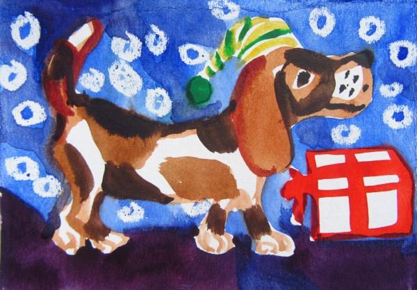 Dog - Christmas 2019/ illustration by Gallina Todorova
