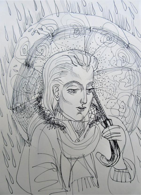 Girl in the rain by Gallina Todorova