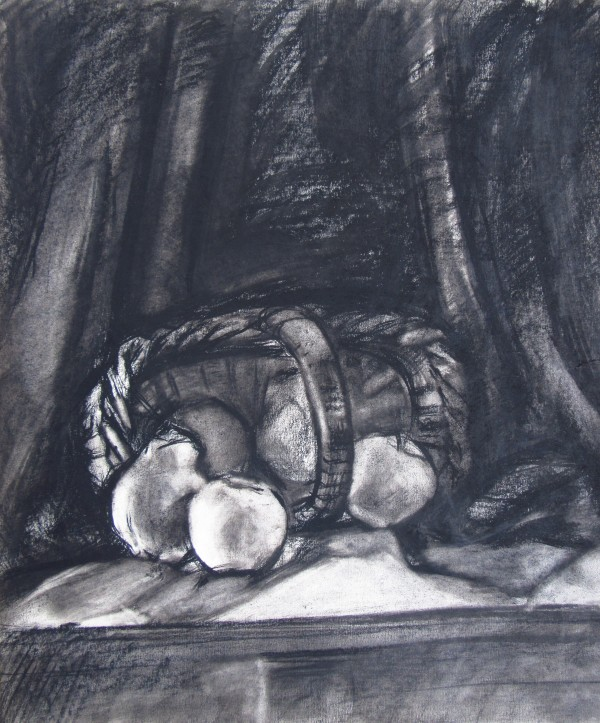 Basket with fruits (with charcoal) by Gallina Todorova