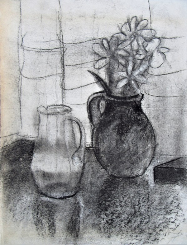 Still Life with a flower pot and a glass jug by Gallina Todorova