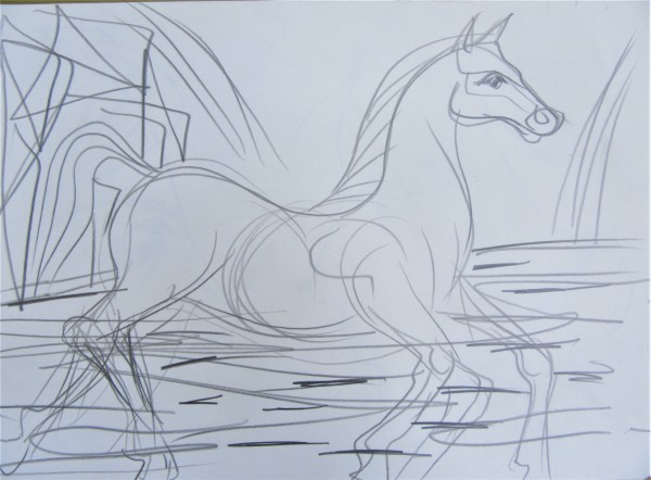 Horse entering a river by Gallina Todorova