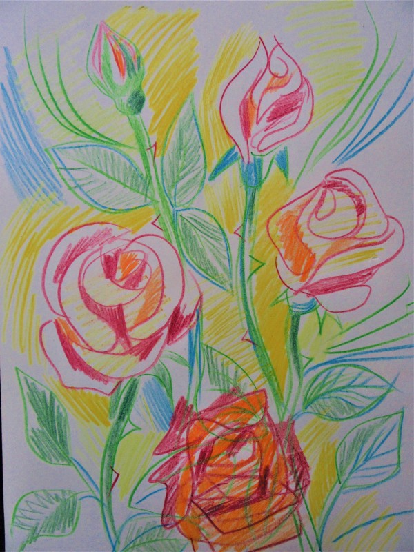 Roses with colour pencils by Gallina Todorova