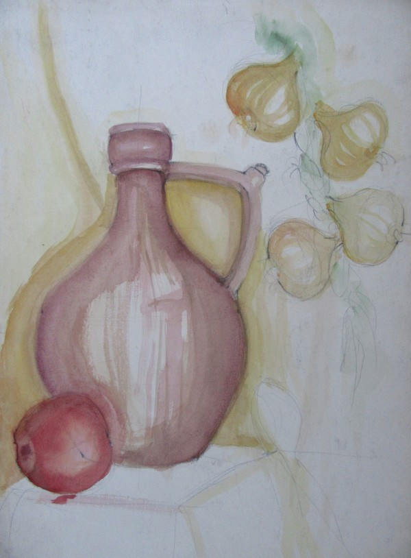 Still life with onion brade and red apple by Gallina Todorova