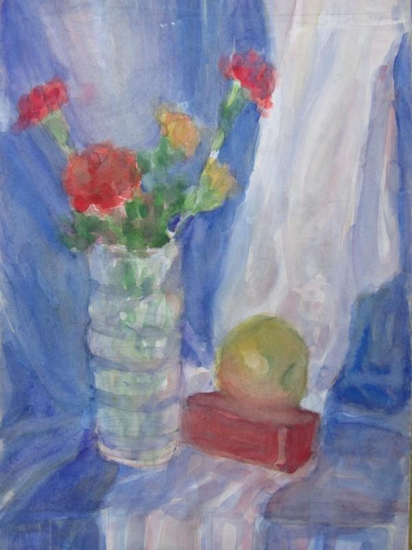 Still life with carnations vase by Gallina Todorova