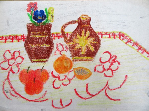 Still life with vases and fruits by Gallina Todorova