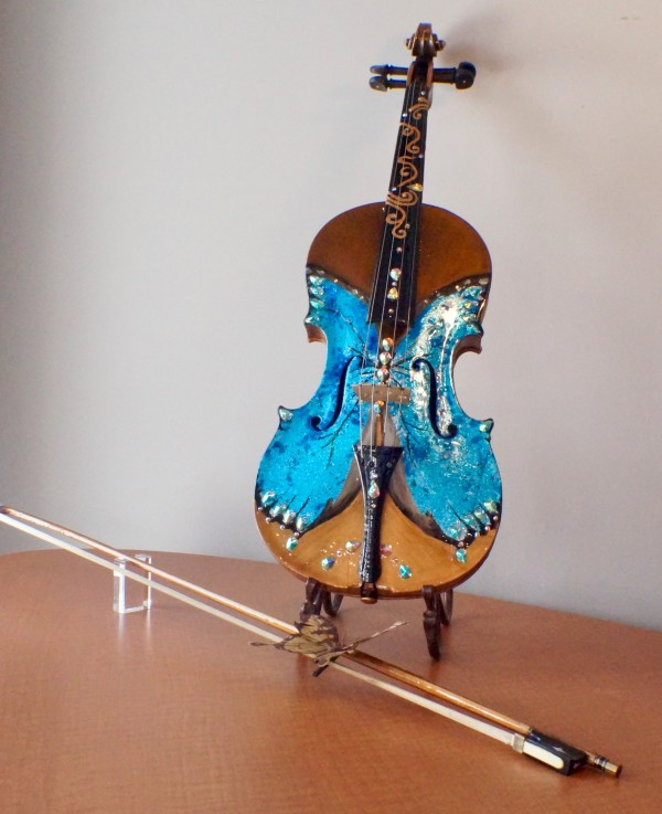 Blue Morpho Reflections on Violin by Louise Beaulieu