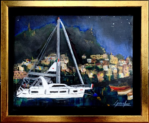 Amalfi Night Harbour by Louise Beaulieu