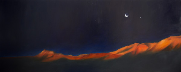 First light on the canyon, moonrise at Whitmore by Lisa McShane
