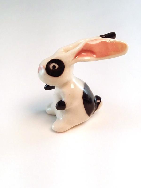 Buggles: Miniature Porcelain Bunny Rabbit Figurine by Leanne Franson