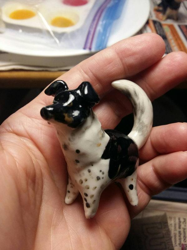 Black White Porcelain Dog Pet Portrait rfm087 Sold by Leanne Franson