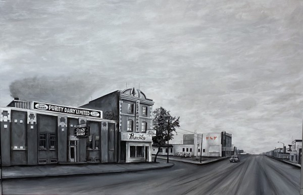 This is Saskatoon # 6 - Purity Dairy, Pinocchio's - mostly black and white, Cree syllabics in colour by Wendy Sharpe