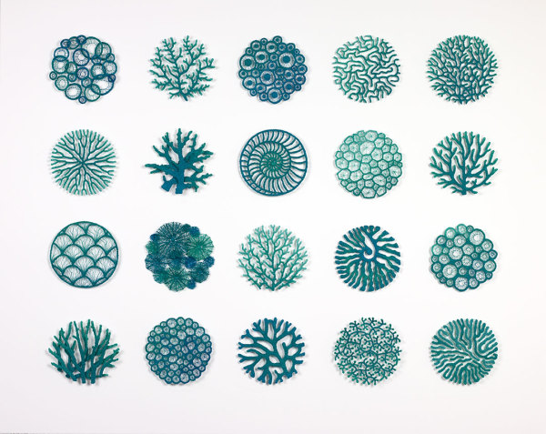 Coral series Blue + Green T&C commission by Meredith Woolnough