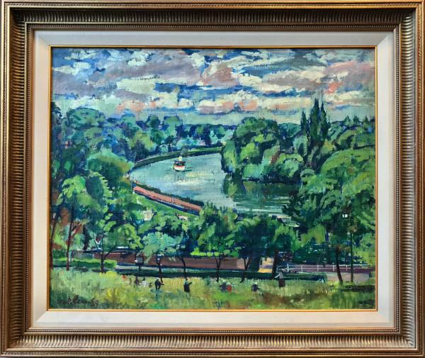 0211 - Boat on the Thames (untitled) by Llewellyn Petley-Jones (1908-1986)