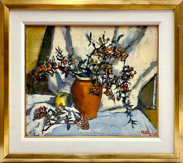 0254 - Still Life, Flowers and Apple by Llewellyn Petley-Jones (1908-1986)