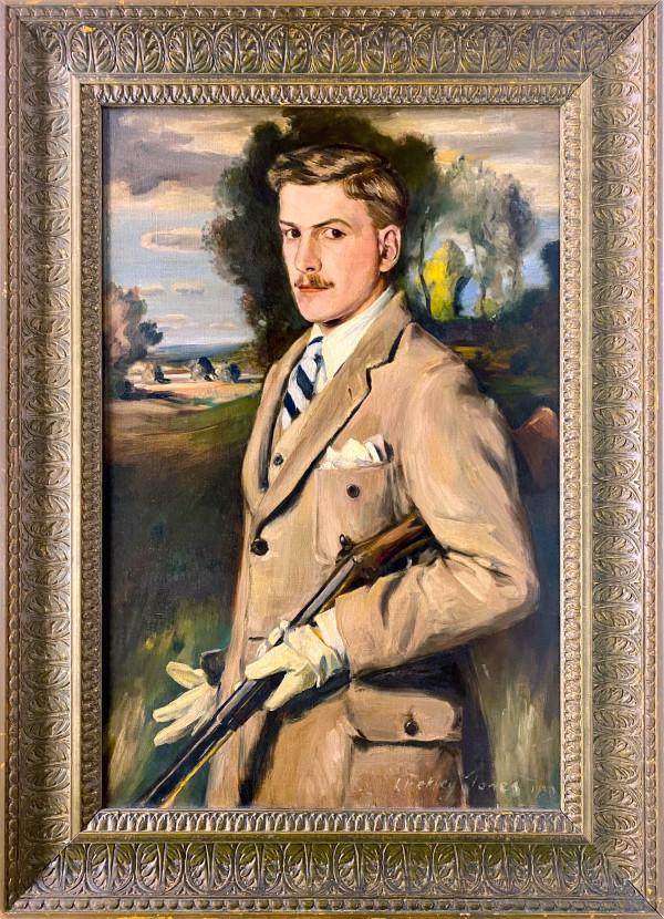 0297 - Portrait of Young Petley-Jones with gun by Llewellyn Petley-Jones (1908-1986)