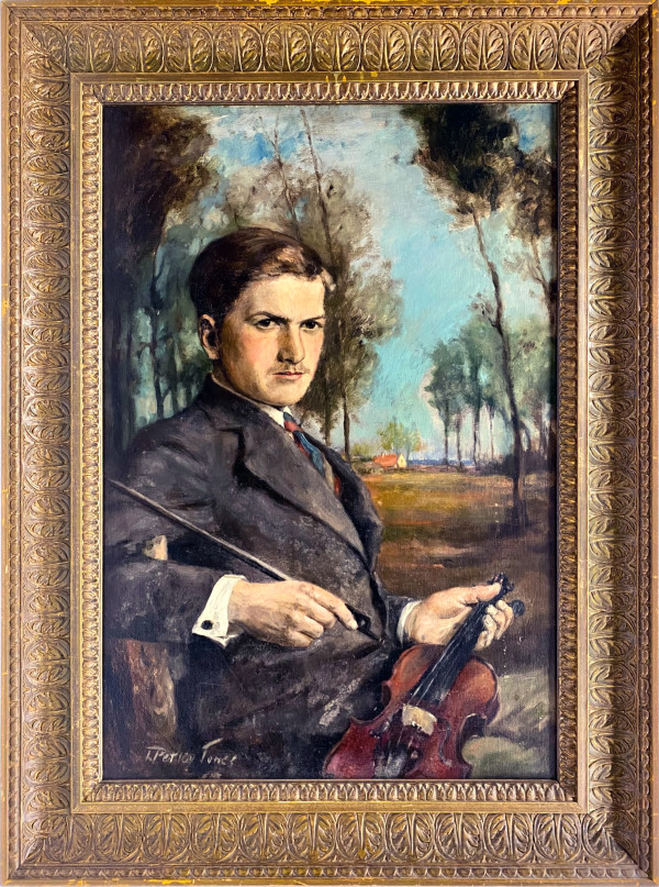 0302 - Portrait of Arthur Petley-Jones with violin by Llewellyn Petley-Jones (1908-1986)