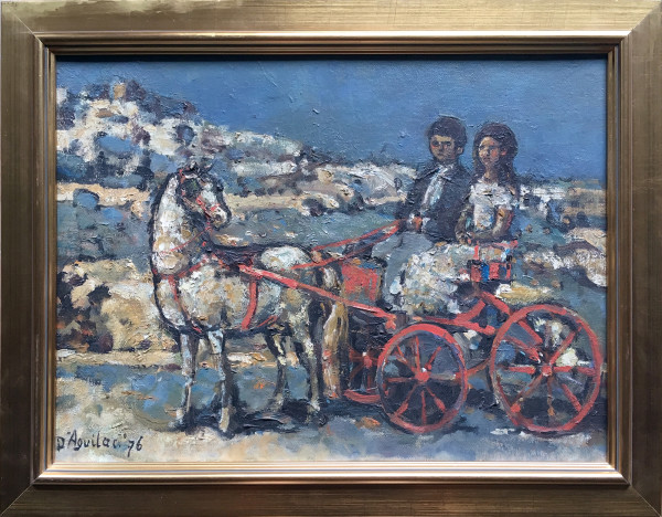 0320 - A Couple in Horse Drawn Carriage by Michael  D'Aguilar (1924-2011)